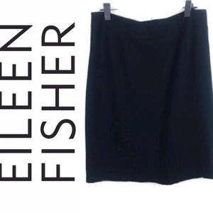 Eileen Fisher Black career Stretch Pencil Skirt L